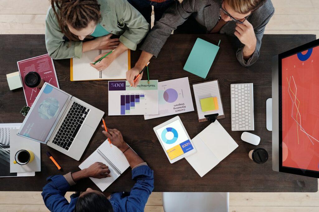 a digital marketing team in a meeting
