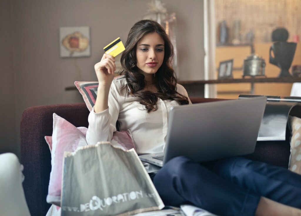 woman engaging in online shopping